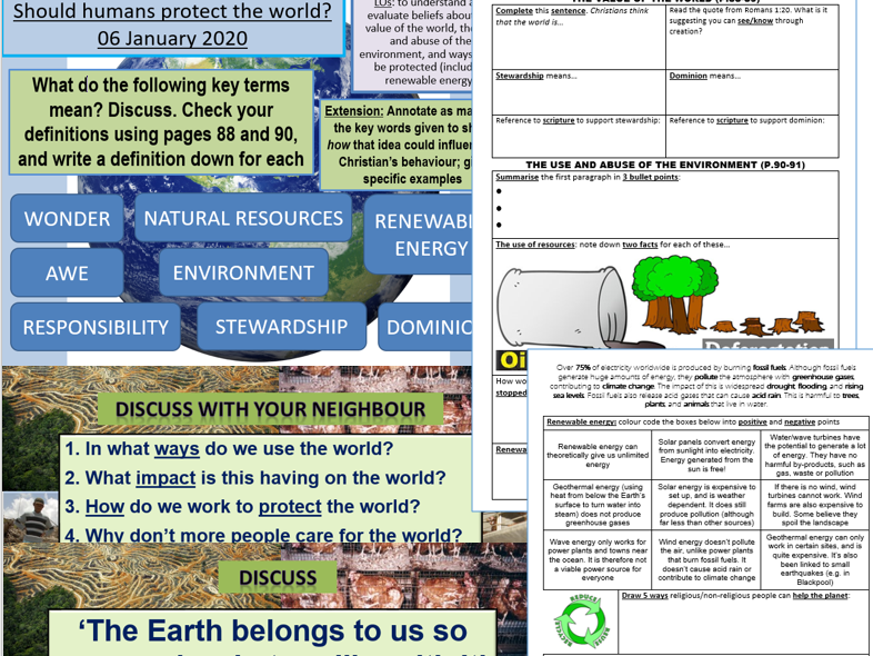 Use and abuse of the world/value of the world lesson (AQA GCSE Religion & Life)