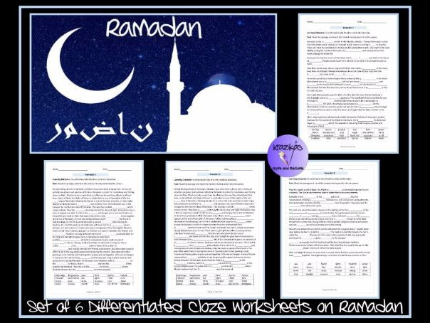 Ramadan and Eid–Ul-Fitr - Set of Six Differentiated Cloze Worksheets