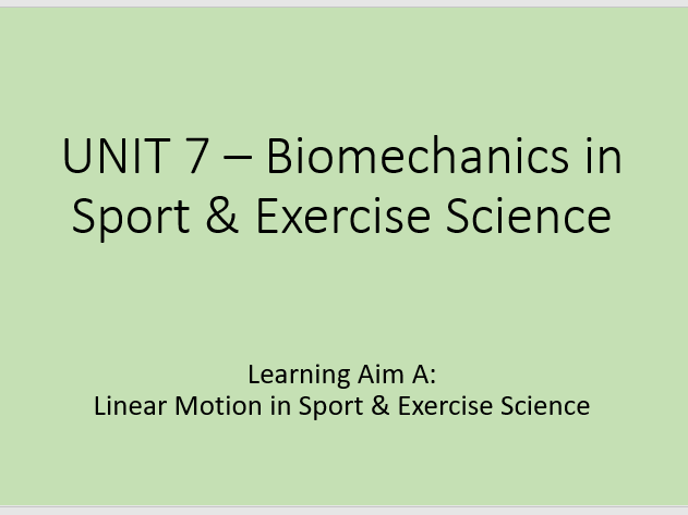 BTEC Sport & Exercise Science Unit 7 Learning Aim A content powerpoint