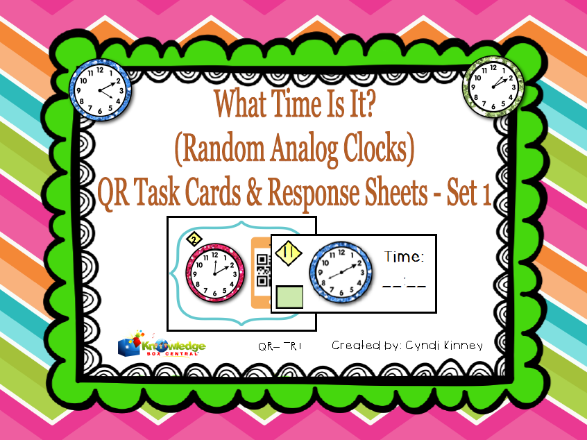 What Time Is it? QR Task Cards & Response Sheets - Random Analog Clocks - Set 1