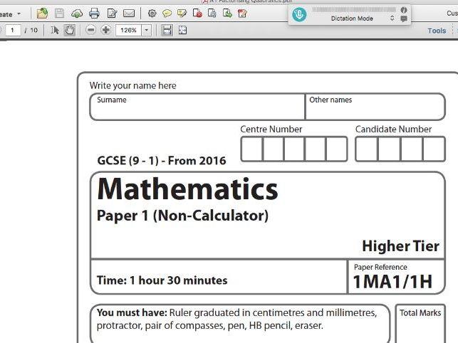 GCSE Maths Exam Style Paper - Factorising Quadratics