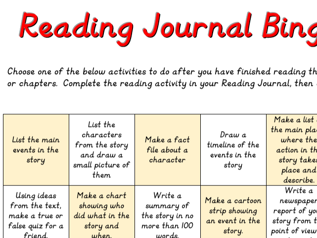 Reading Journal Bingo sheet Yr 5 Yr6