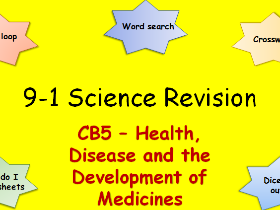 Edexcel CB5 Health, Disease and the Development of Medicines Revision pack Science 9-1