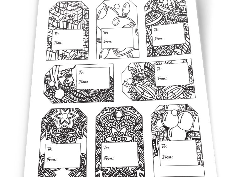 DIY Christmas Gift Tags - 8 templates to color your own gift tags for Christmas - Printable PDF