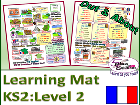 Primary KS2 French LEARNING MAT: Out & About (Level 2)