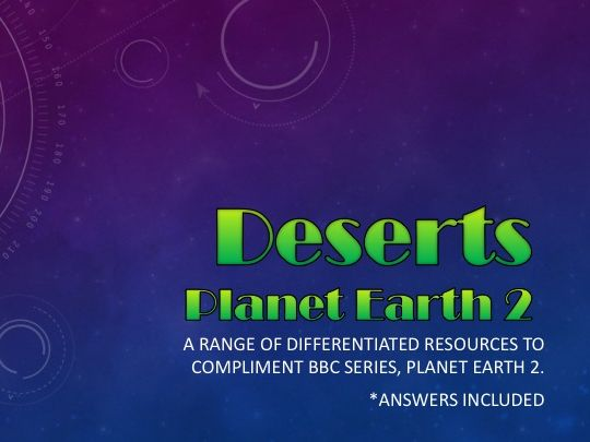 Planet Earth 2 : Deserts : Activity pack