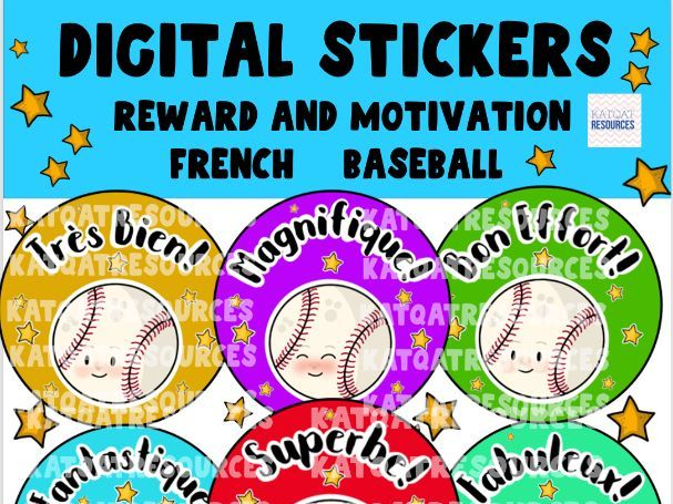 French Digital Motivational Reward Stickers Baseball