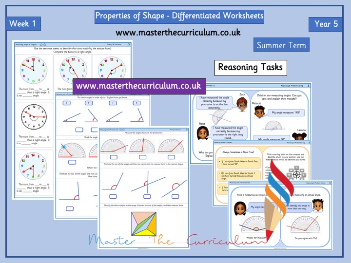 Year 5 – Summer – Week 1 – Editable Properties of Shape- Differentiated Sheets