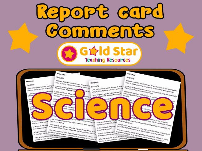 Report Card comments - Primary Science