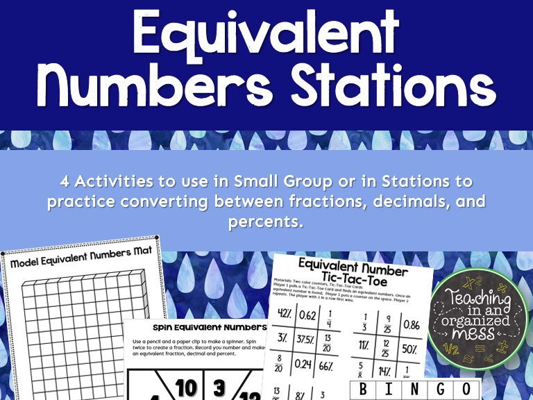 Equivalent Numbers Converting Fraction Decimal Percent Stations or Small Group