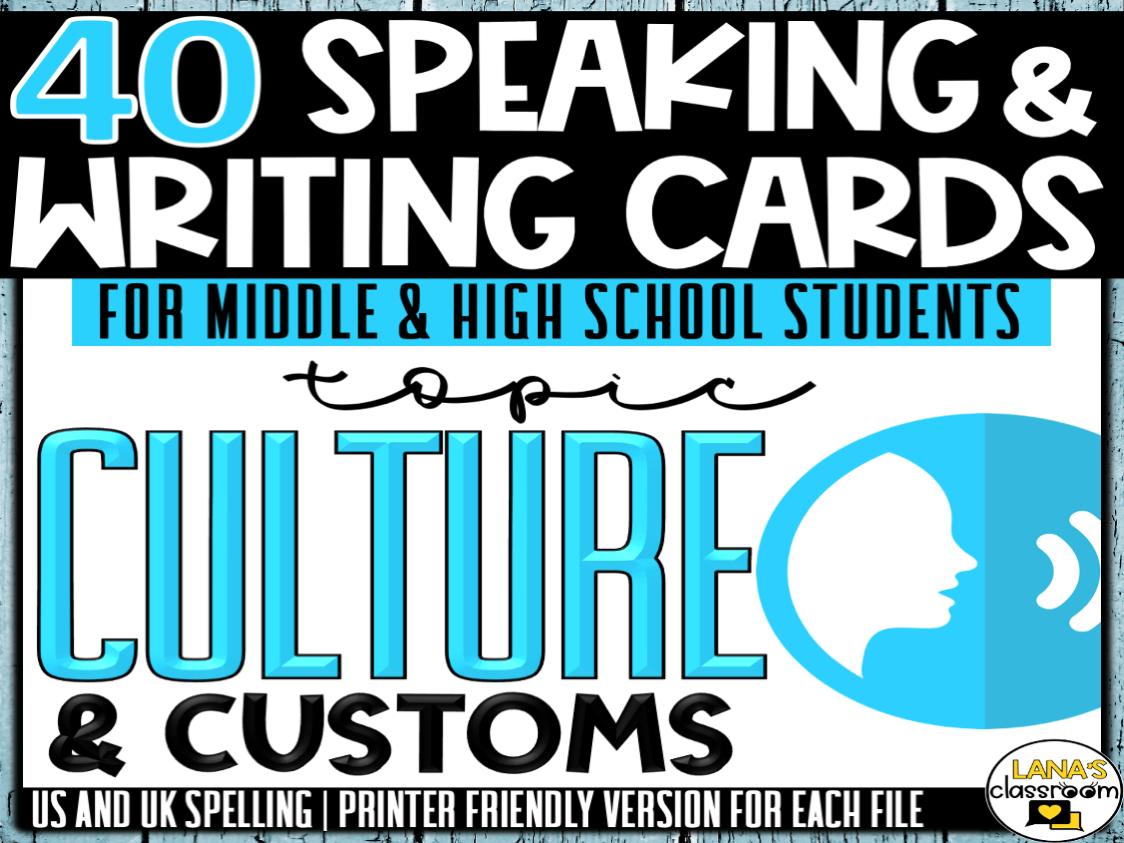 Culture   ESL/ELL/ELA Speaking and Writing Activities   For Teens   BUNDLE