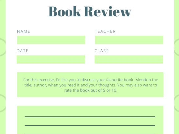 Book Review: English reading and writing. Book review prompt. Suitable for all ages.