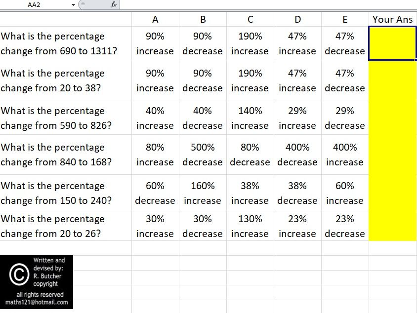 Percentages Revision