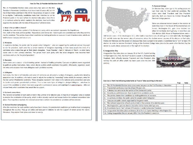 How Do The US Presidential Elections Work? - Reading Comprehension / Informational Text