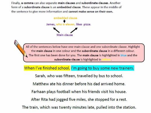 KS2 Grammar: Main and Subordinate Clauses with answers