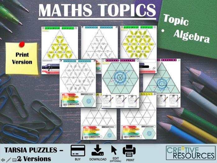 Algebra Tarsia Maths Puzzles