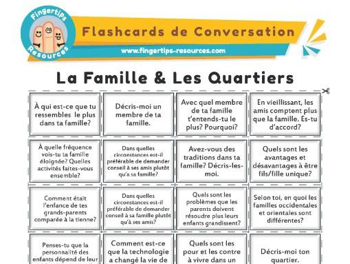 La Famille & Les Quartiers - French Conversation Flashcards