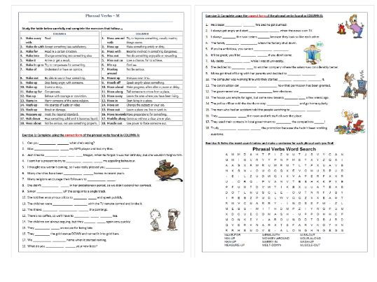 Phrasal Verbs Beginning with M: Worksheet / Revision