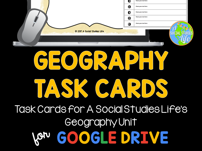 Geography Task Cards and Recording Sheet