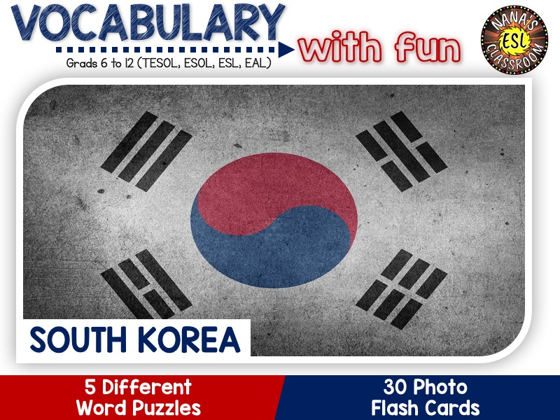 South Korea - Country Symbols: 5 Different Word puzzles and 30 Photo flash cards (ESL, ELA, ELL)