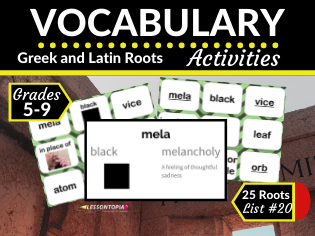 Greek and Latin Roots Activities-Vocabulary List #20