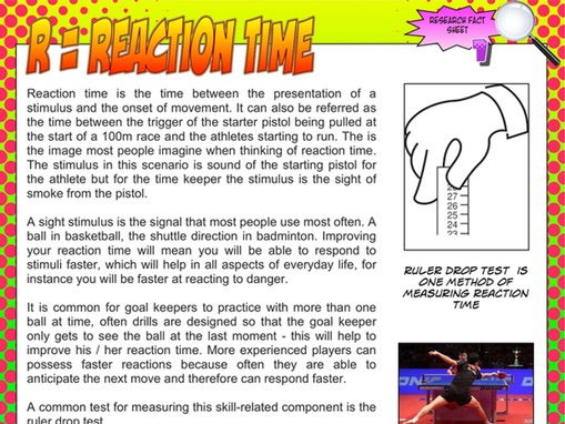 components of physical fitness reaction time