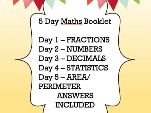 11+ prep -  5 day maths booklet