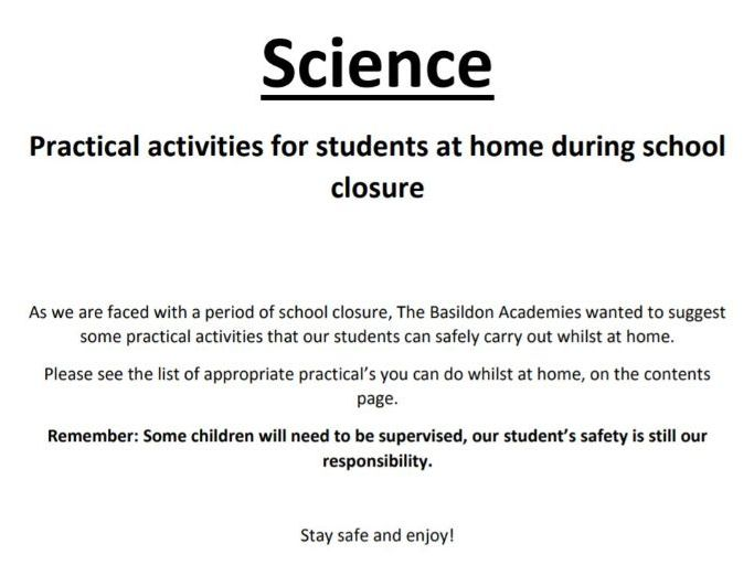 Home Learning Practical Booklet