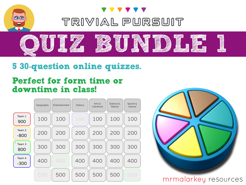 Quiz bundle #1: 5 Trivial Pursuit-style quizzes