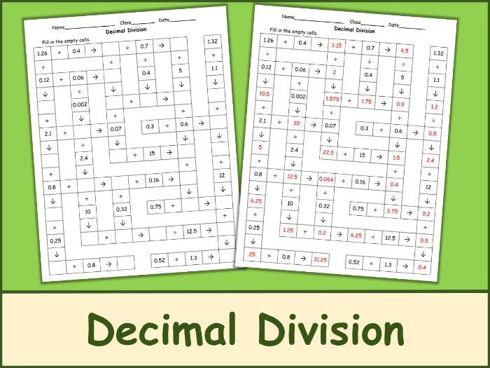 Decimal Division Crossword Puzzle