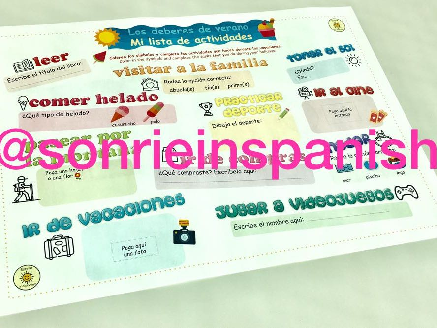 Spanish summer homework worksheet. Los deberes para el verano. La tarea del verano mini booklet