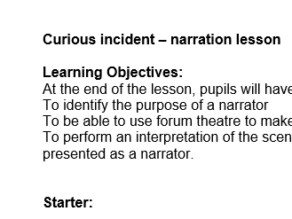 Drama Curious Incident of the dog Narration Lesson
