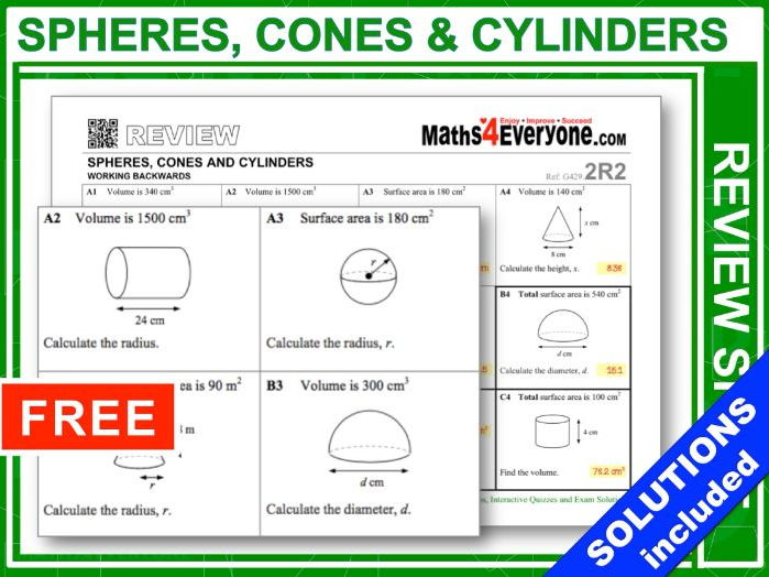 GCSE Revision (Spheres, Cones & Cylinders: Working Backwards)