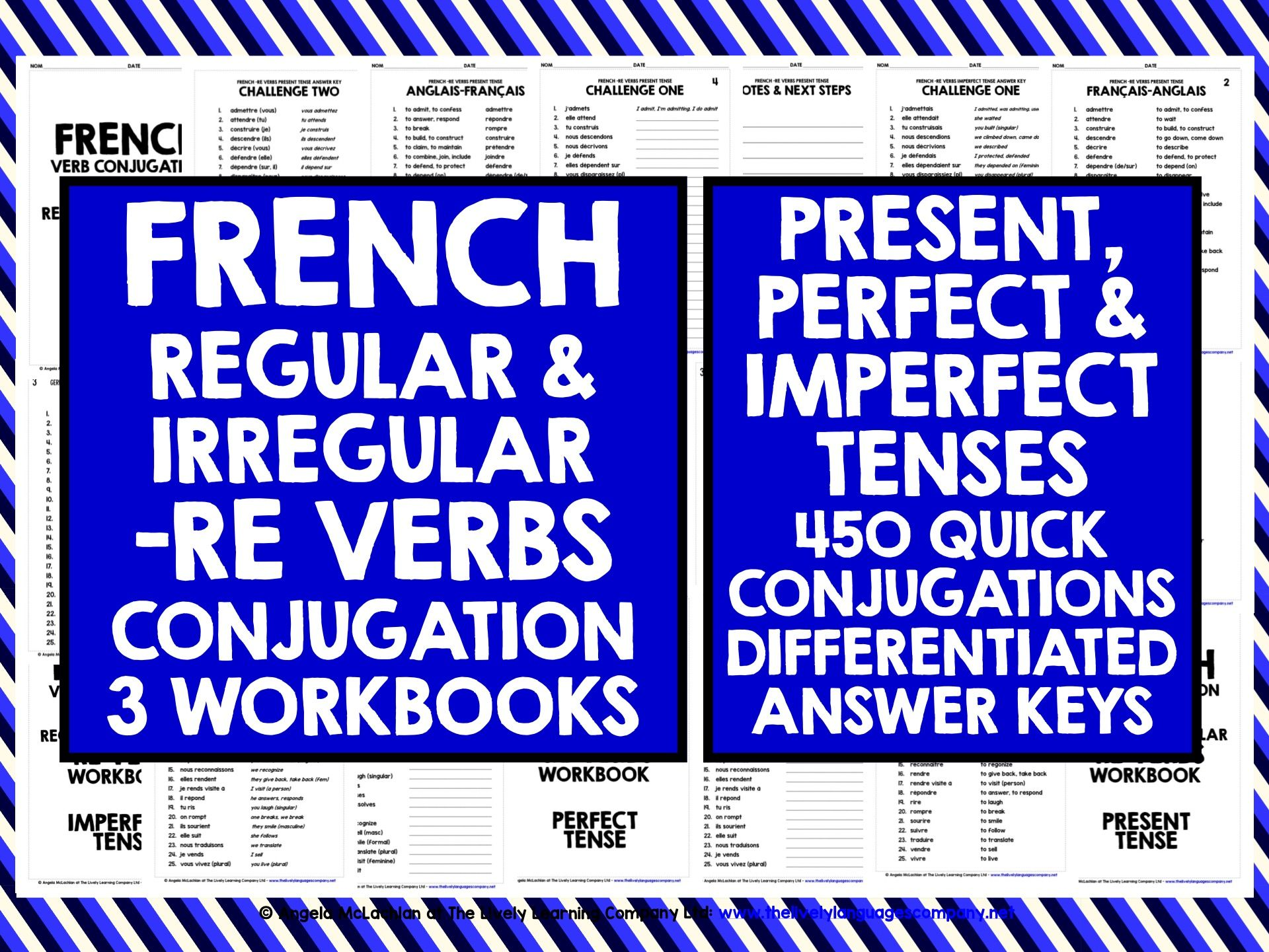 FRENCH VERBS: FRENCH -RE VERBS CONJUGATION PRACTICE: PRESENT, PERFECT & IMPERFECT TENSE