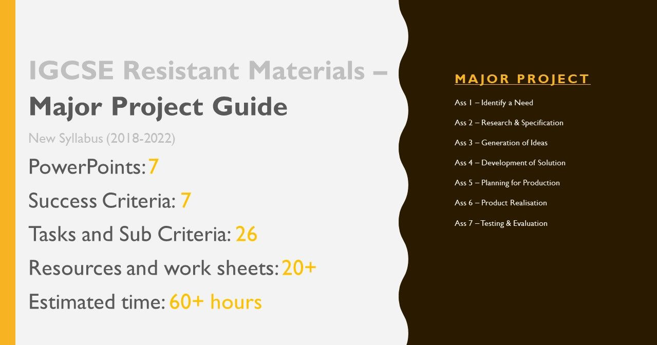 Criterion 1-7 Complete Major Project Guide - New IGCSE Cambridge Resistant Materials (2018-22) (Presentation and worksheets)