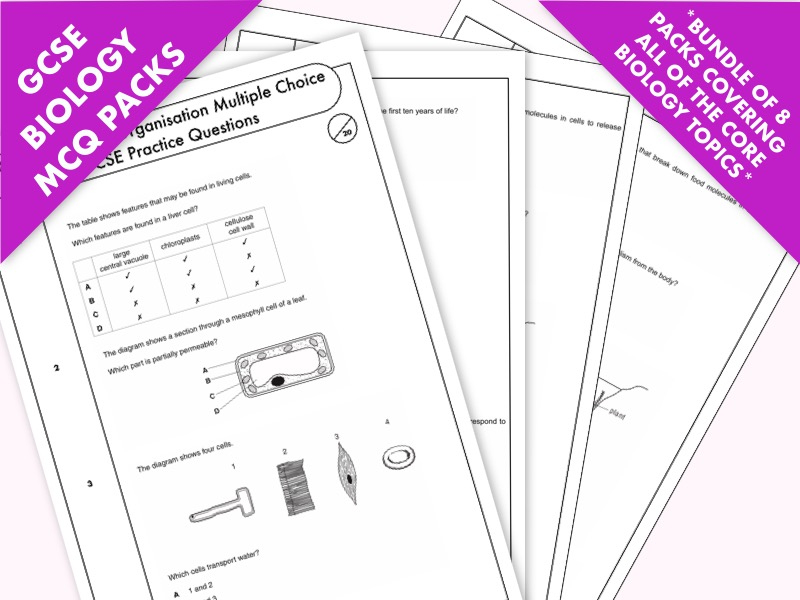 GCSE Biology: Bumper Pack of Multiple-Choice Topic Questions on  the Core Biology Topics