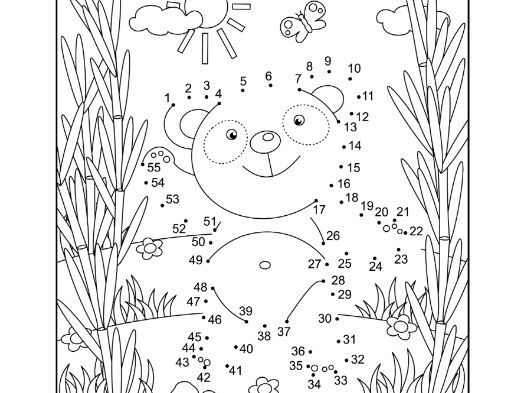 Connect the Dots and Coloring Page with Panda Bear