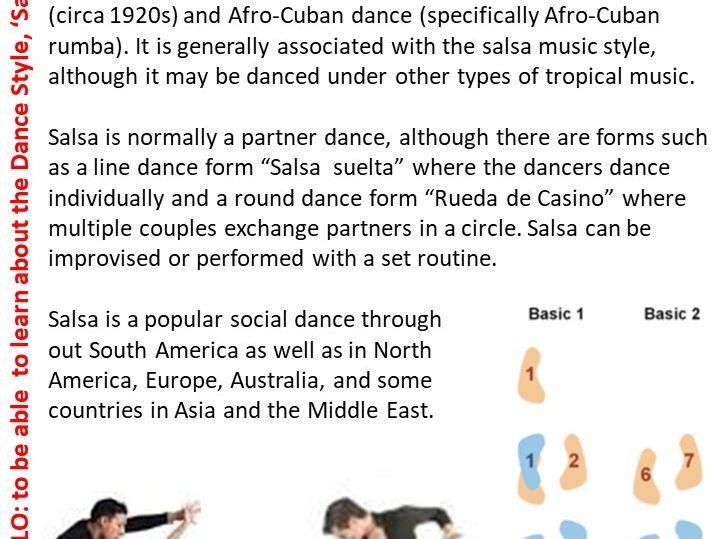 Salsa Dance Resource Card
