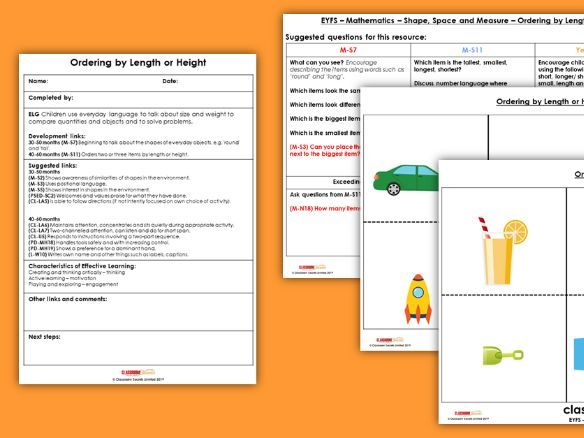 FREE EYFS Shape, Space & Measure - Ordering Items by Length & Height Resources & Observation Pack