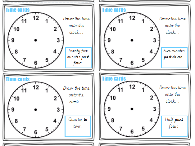 Year 3 time cards (72 differentiated cards)