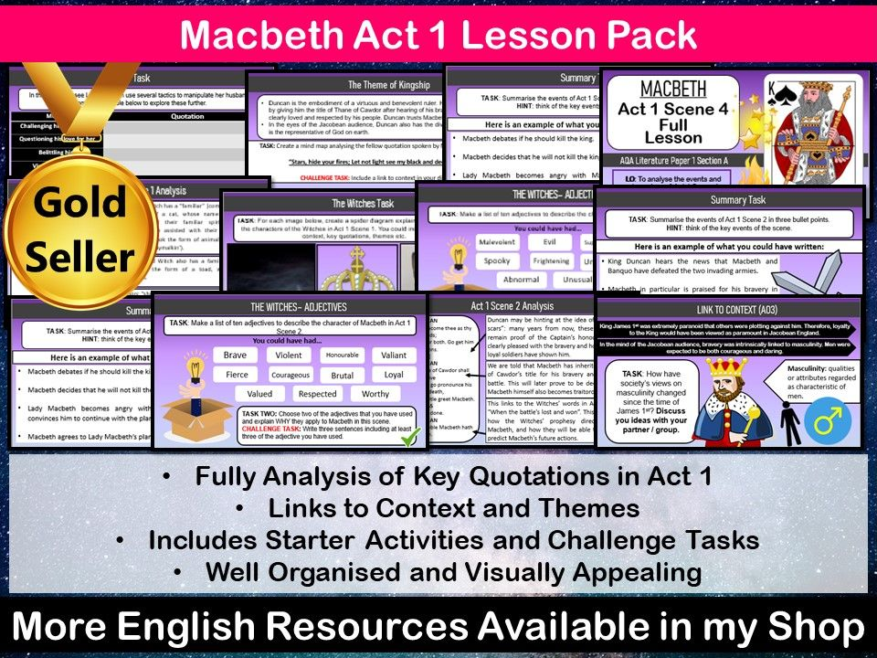 Macbeth Act 1 Lesson Pack