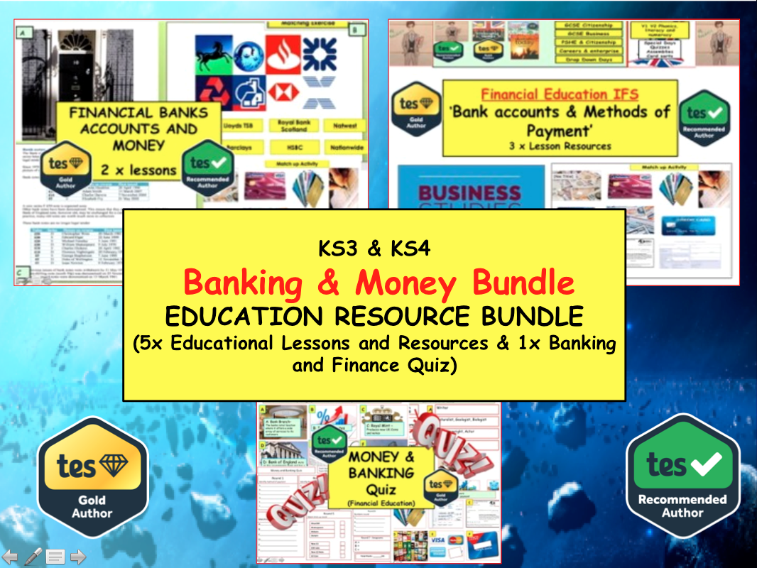Banking and Finance 6x lessons and an educational Quiz on Finance / Banking / Money / Payment Methods / Financial Education / Business