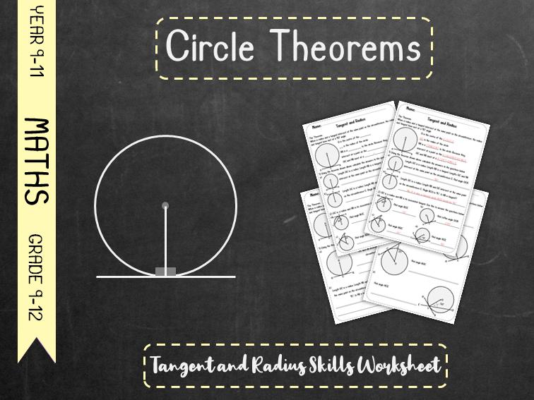 Circle Theorems - Tangent and Radius Skills Worksheet