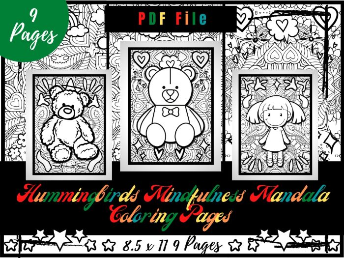 Dolls Mindfulness Mandala Colouring Pages, Doll Printable Colouring Sheets PDF
