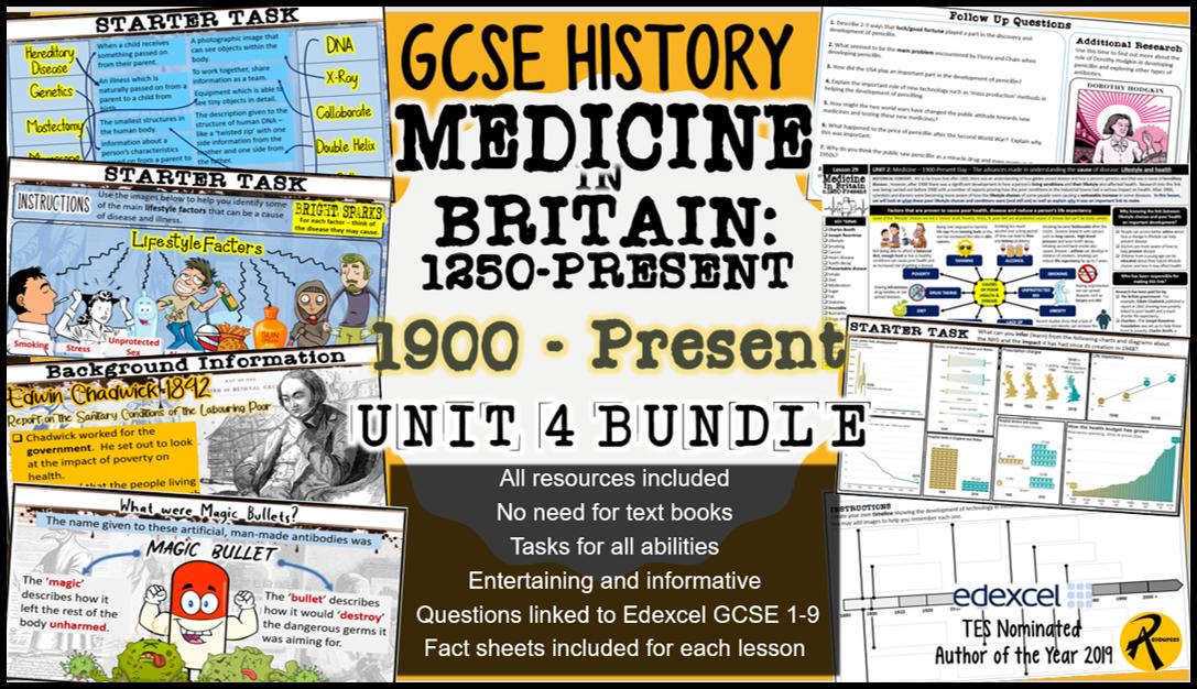 GCSE History Edexcel: Medicine in Britain UNIT 4 (1900-Present) Bundle