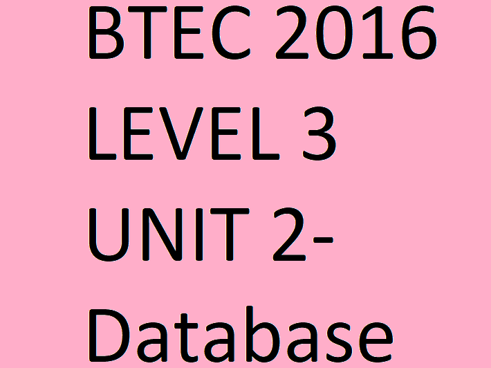 BTEC IT 2016 Full Unit 2 Course Creating Systems to Manage Information Level 3