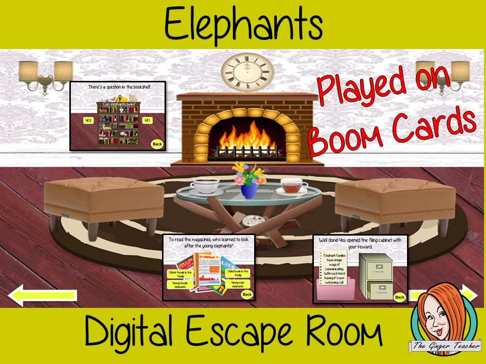 Elephants Escape Room Boom Cards