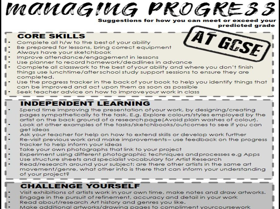 Art GCSE Managing progress TIPS