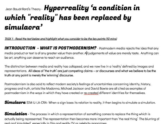 WJEC Media Theorist Baudrillard POSTMODERNISM  Simulacra Hyperreality Neale's Repetition genre