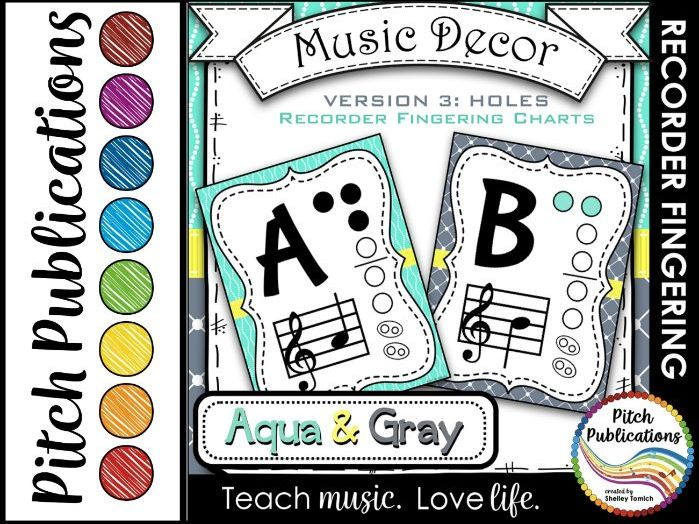 Recorder Fingering Chart Posters v3 Holes - Music Decor Aqua Gray